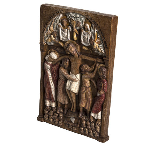 Virgin Mary and baby Jesus statue in painted wood, antique finis 2