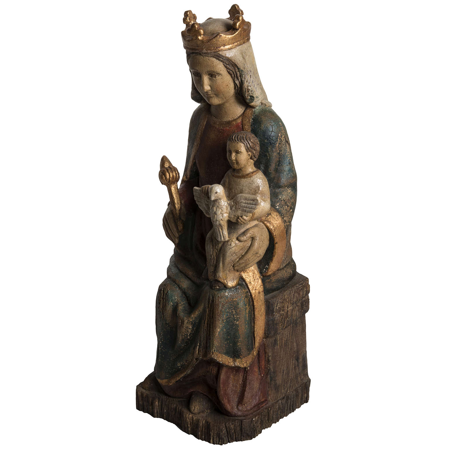 Gottesmutter von Rosay 63cm Holz antikisiertes Finish 4