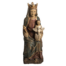 Hand painted wooden statues: Madonna of Rosay statue in painted wood, antique finishing 63 cm