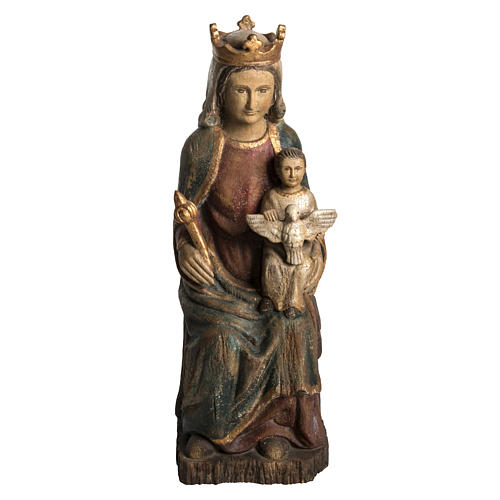 Madonna of Rosay statue in painted wood, antique finishing 63 cm 1