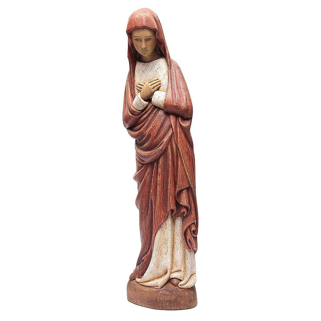 Virgen de la Anunciación con capa roja de madera pintada Bethléem 80 cm 4