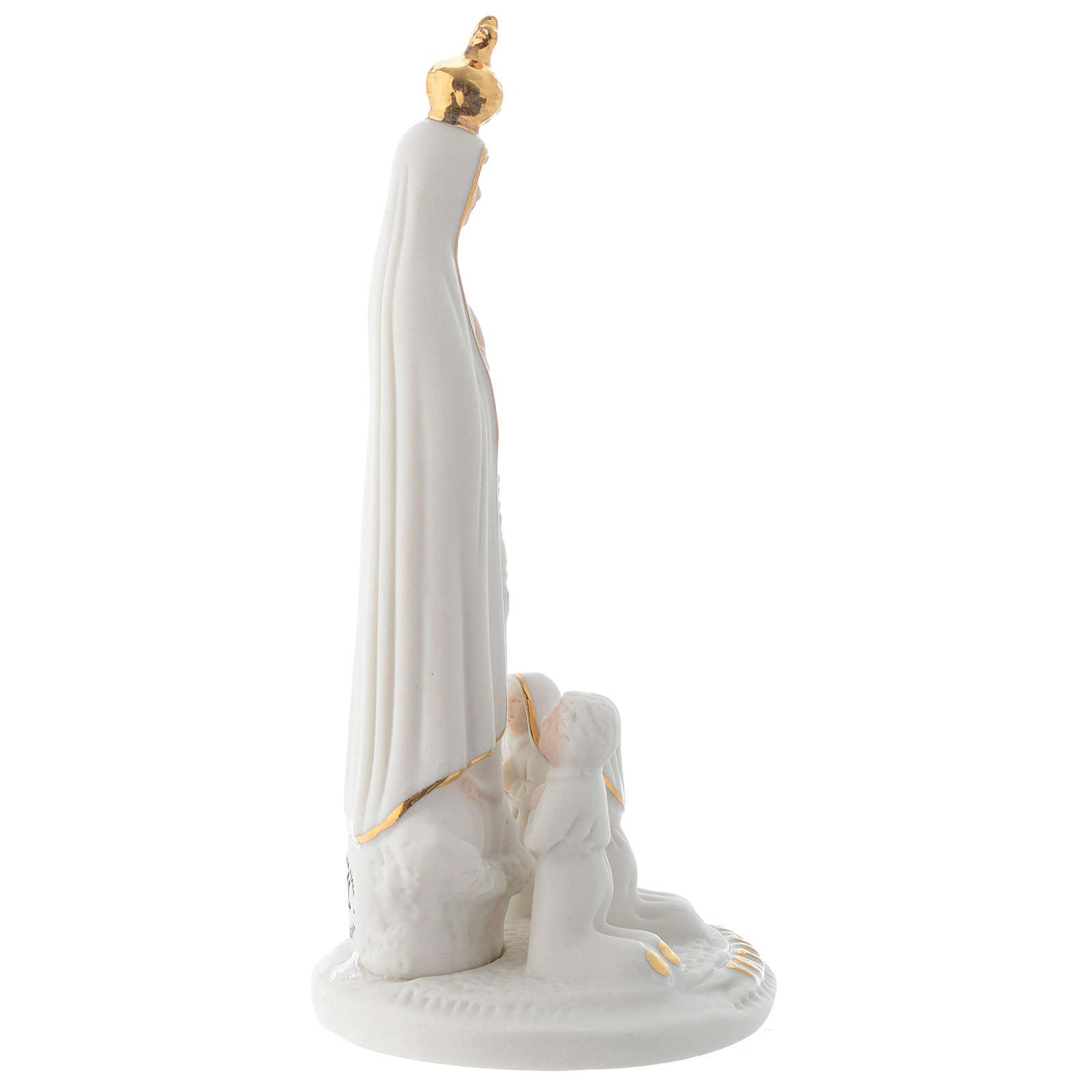 Imagen Virgen de Fatima porcelana con Tres Pastorcitos 13 cm 4