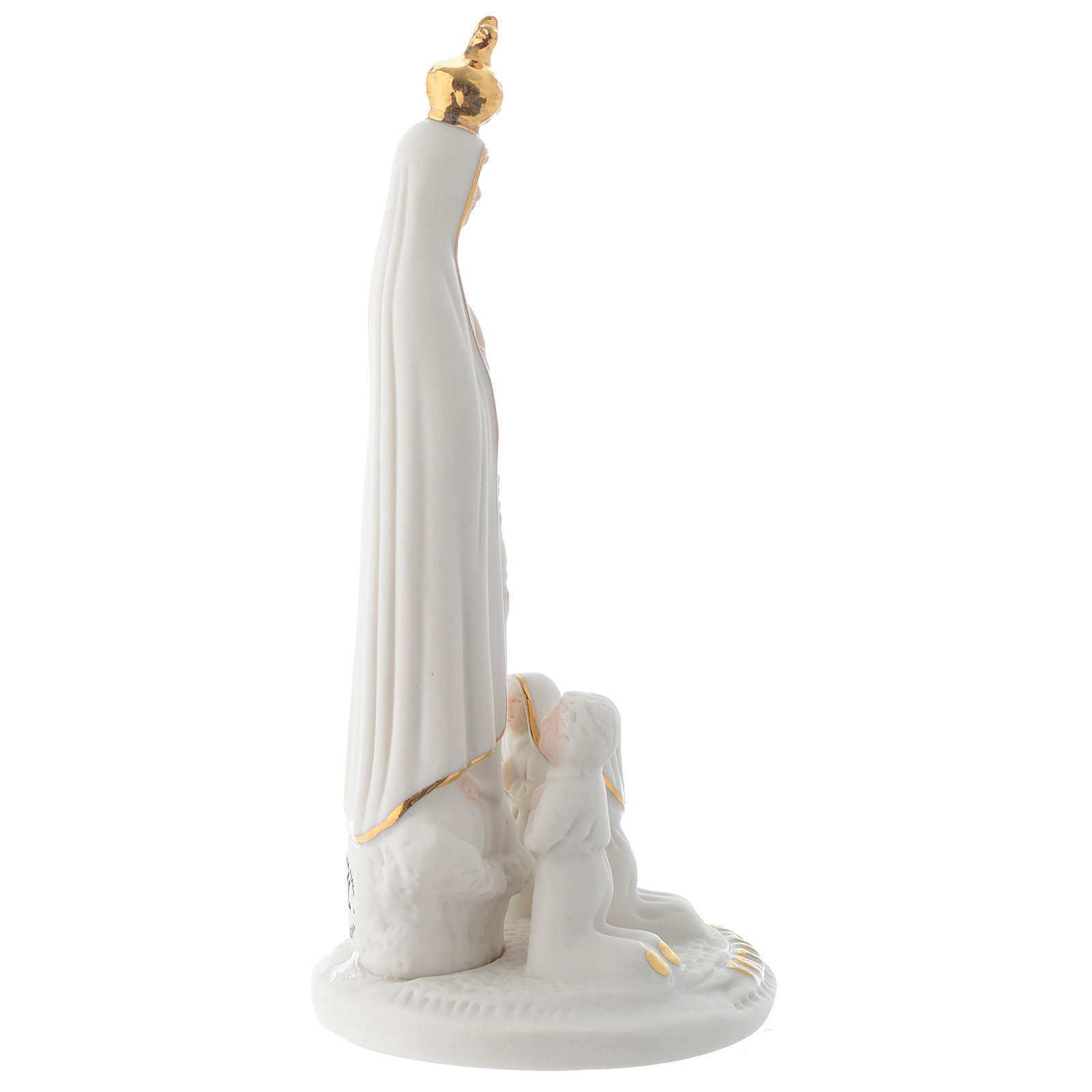 Statua Fatima porcellana con pastorelli 13 cm 4