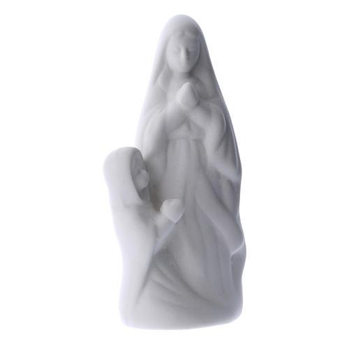 Statua Madonna di Lourdes con Bernardette ceramica bianca 10 cm 1