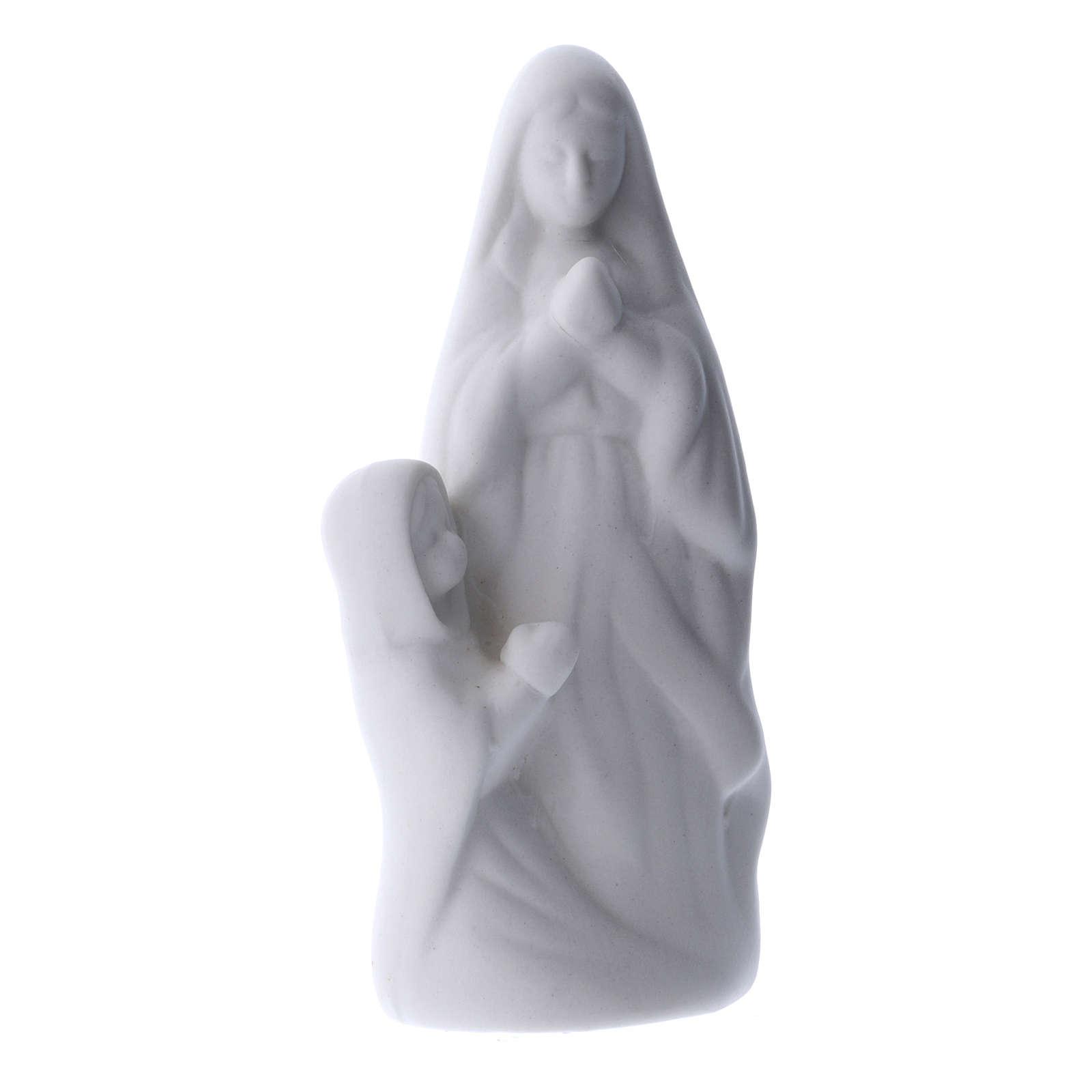Imagem Nossa Senhora de Lourdes com Bernadette cerâmica branca 10 cm 4
