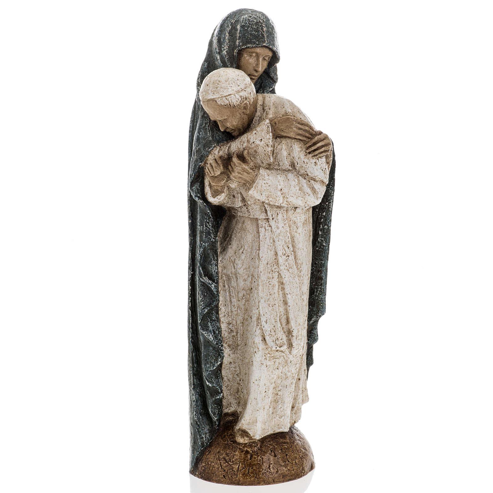 Vierge Marie avec Jean Paul II 27 cm Bethléem 4