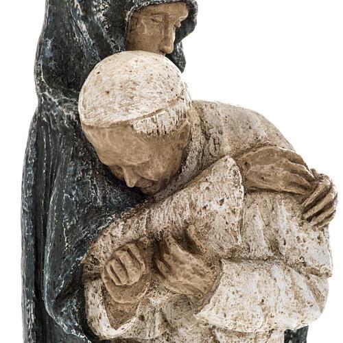 Vierge Marie avec Jean Paul II 27 cm Bethléem 3