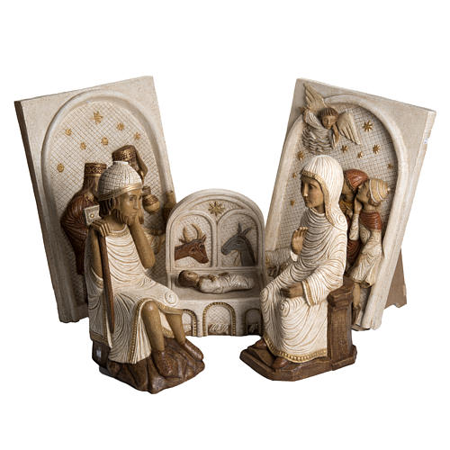 Big Autumn Nativity Scene in white stone Bethléem 1