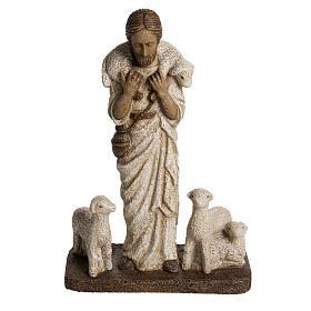 Buon Pastore 38 cm pietra Bethléem s1