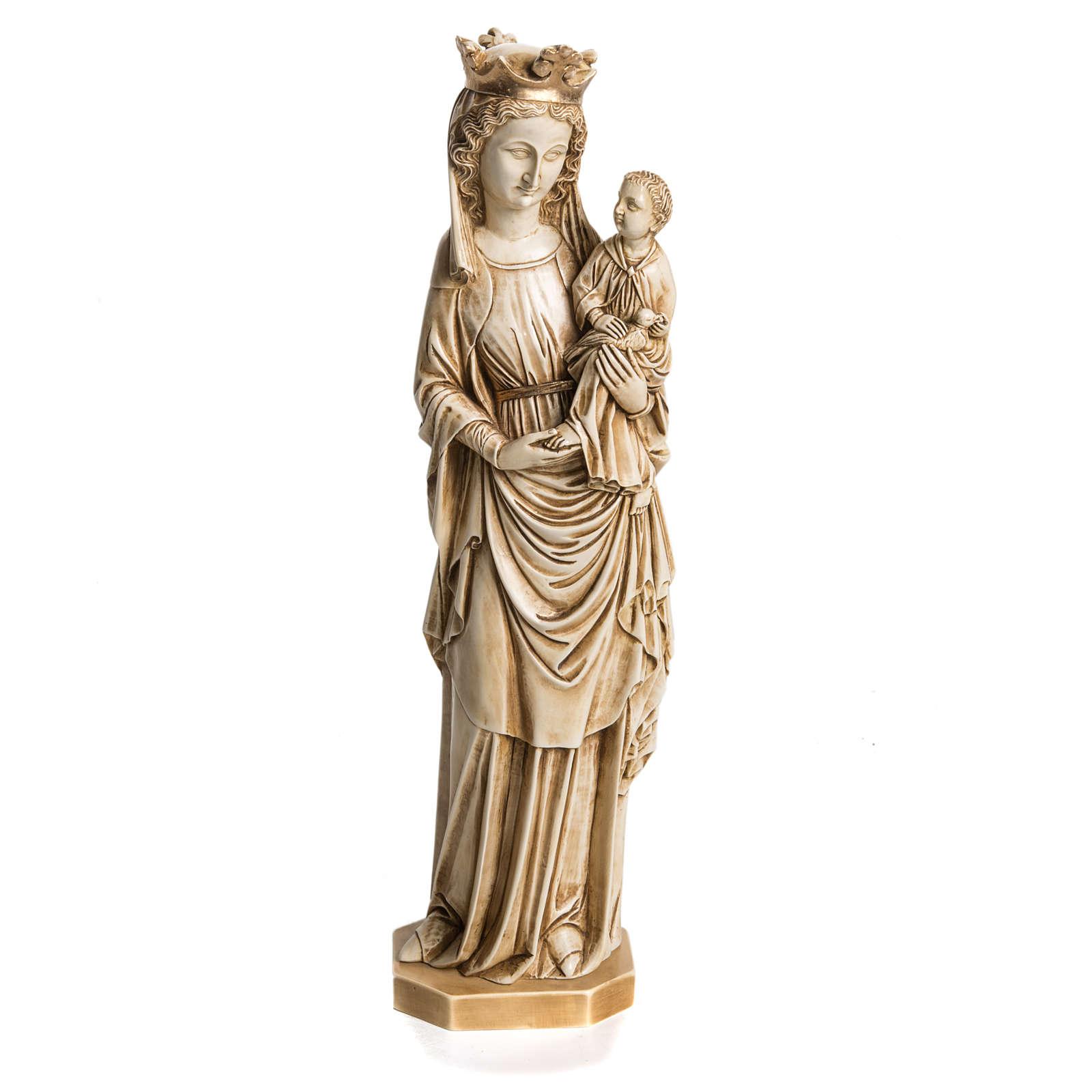Madonna dell'uccellino 35 cm pietra avorio Bethléem 4