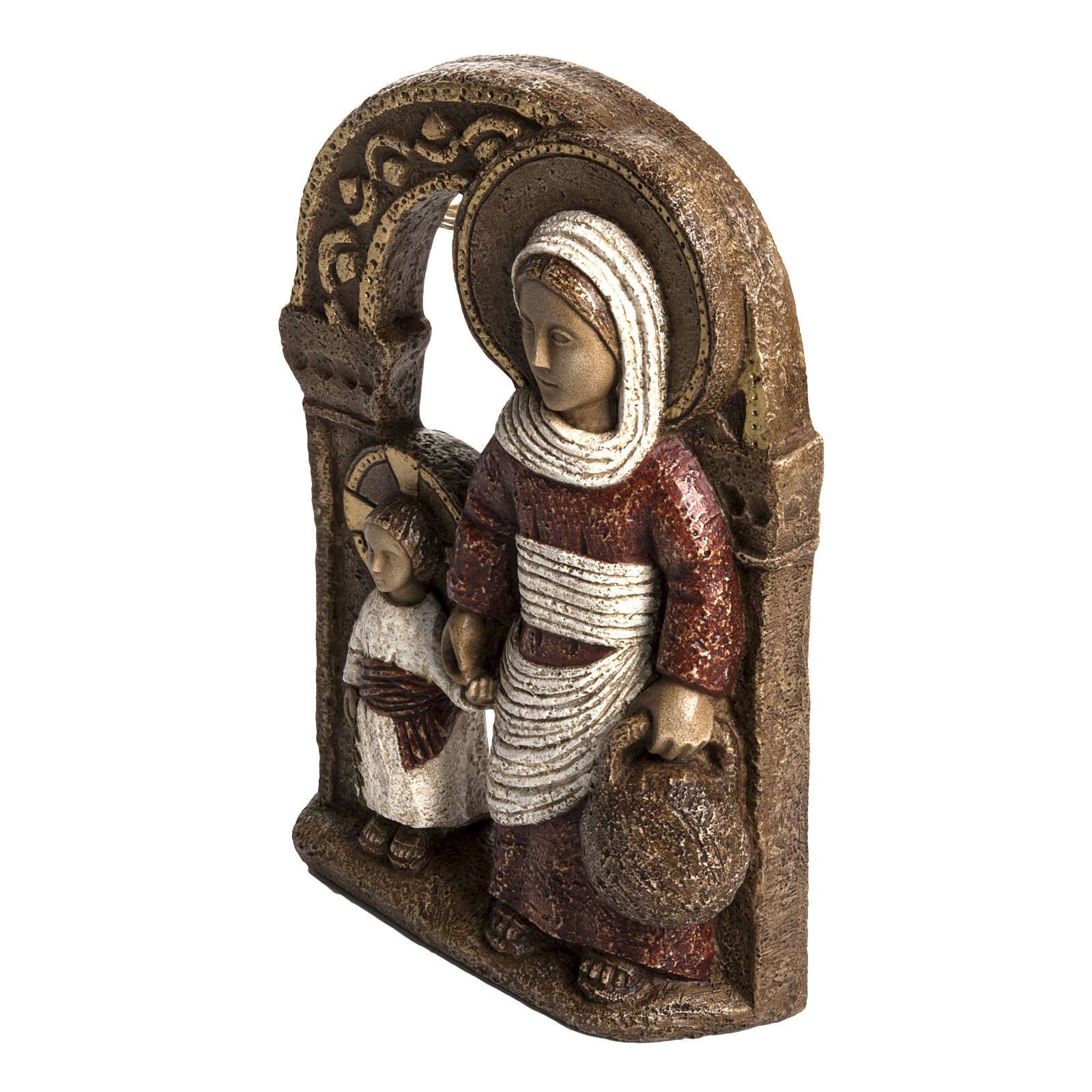 Mary of Nazareth in red stone, Bethléem 35cm 4