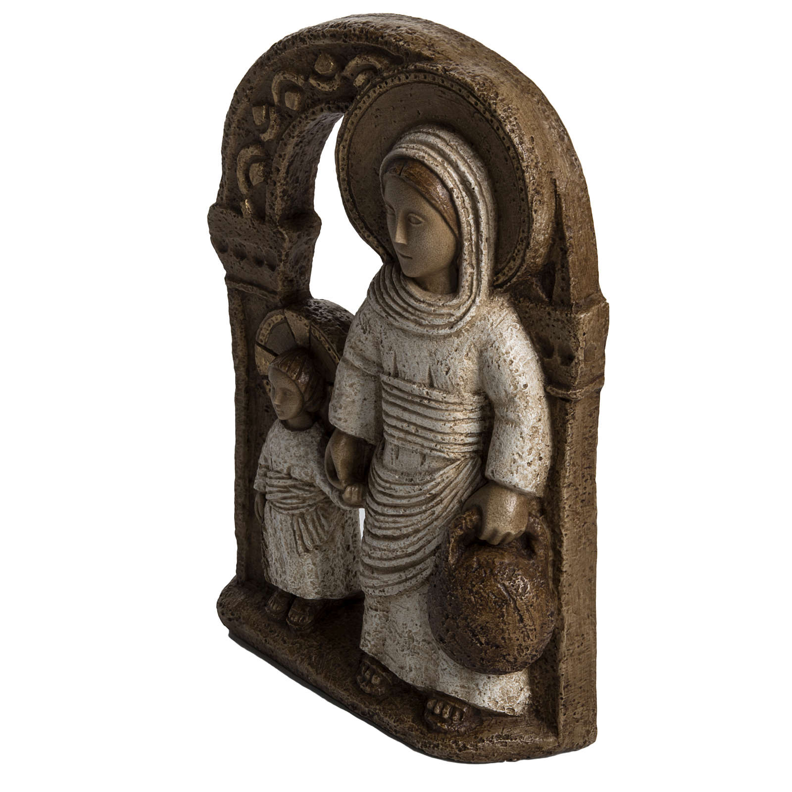 Vierge de Nazareth veste blanche 35 cm pierre Bethléem 4