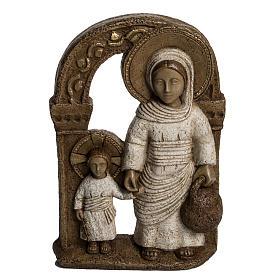 Vierge de Nazareth veste blanche 35 cm pierre Bethléem s1