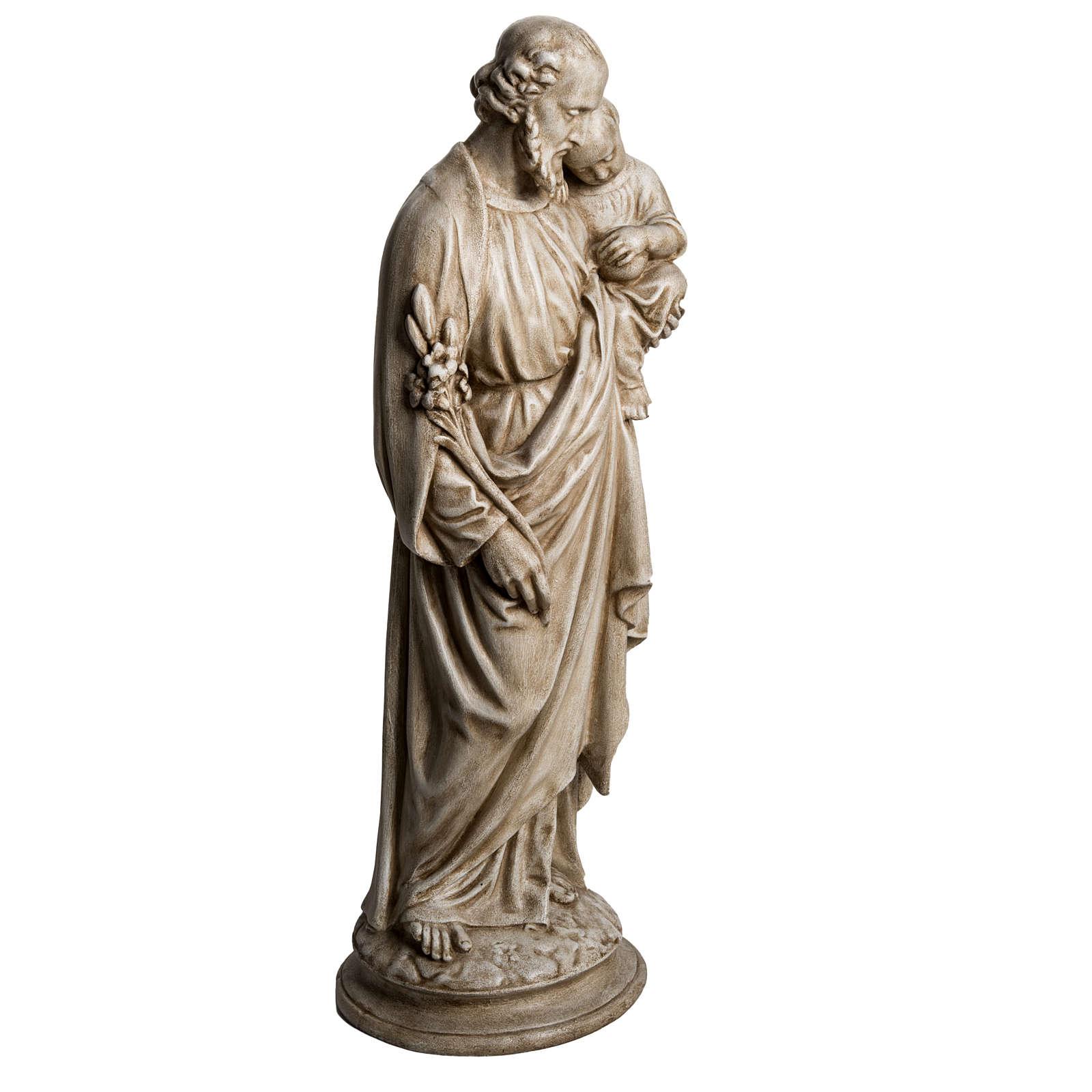 Saint Joseph with Baby Jesus in Pyrenees stone, Bethléem 61cm 4