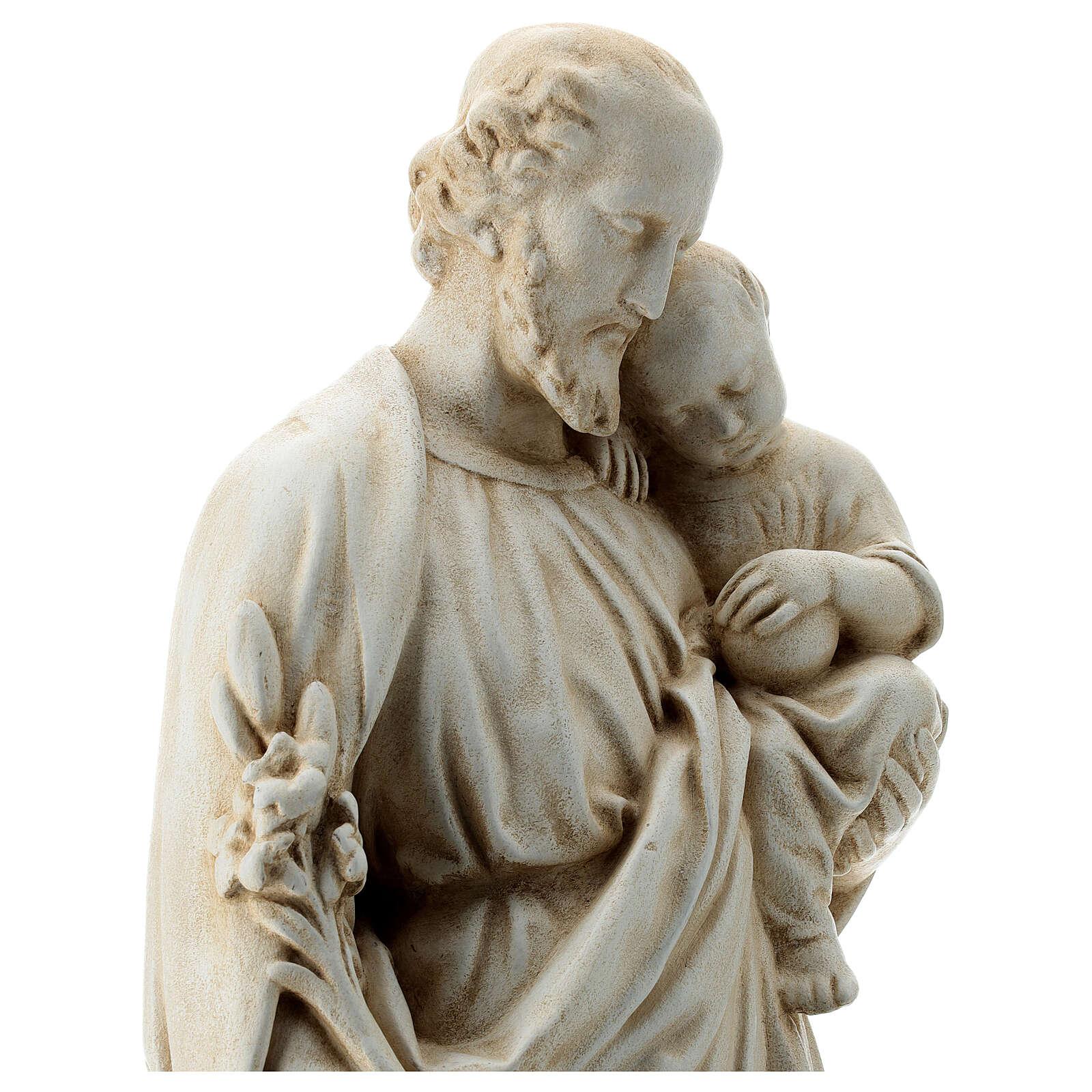 San Giuseppe con bambino 61 cm pietra dei Pirenei 4