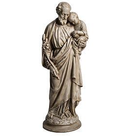 Saint Joseph with Baby Jesus in Pyrenees stone, Bethléem 61cm s1
