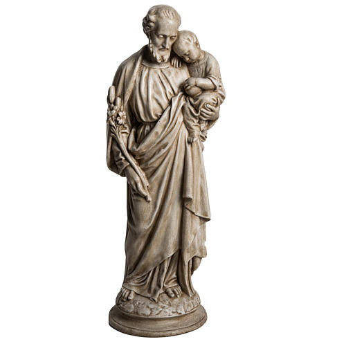 Saint Joseph with Baby Jesus in Pyrenees stone, Bethléem 61cm 1