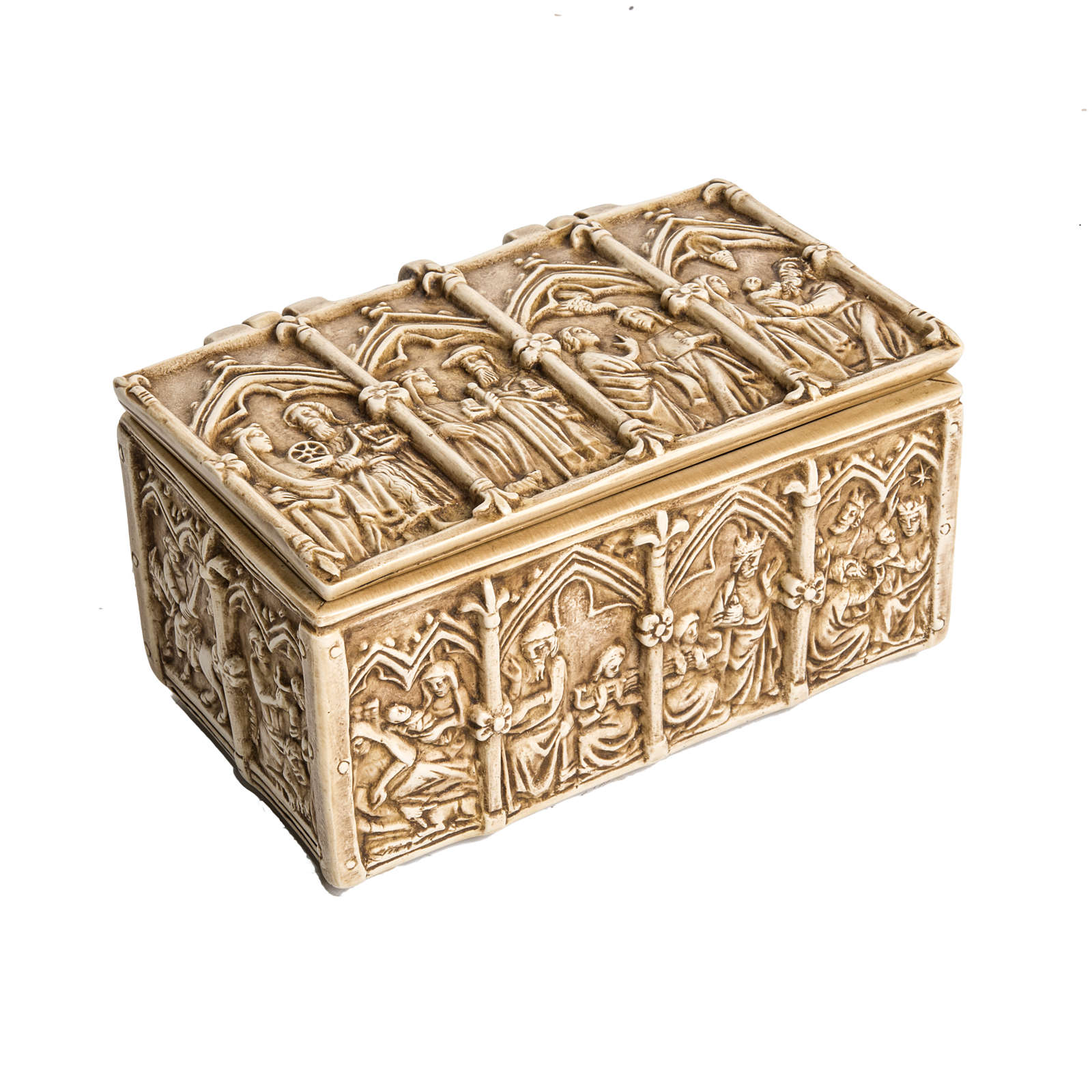 Coffret: shrine in ivory stone, Bethléem 35cm 4
