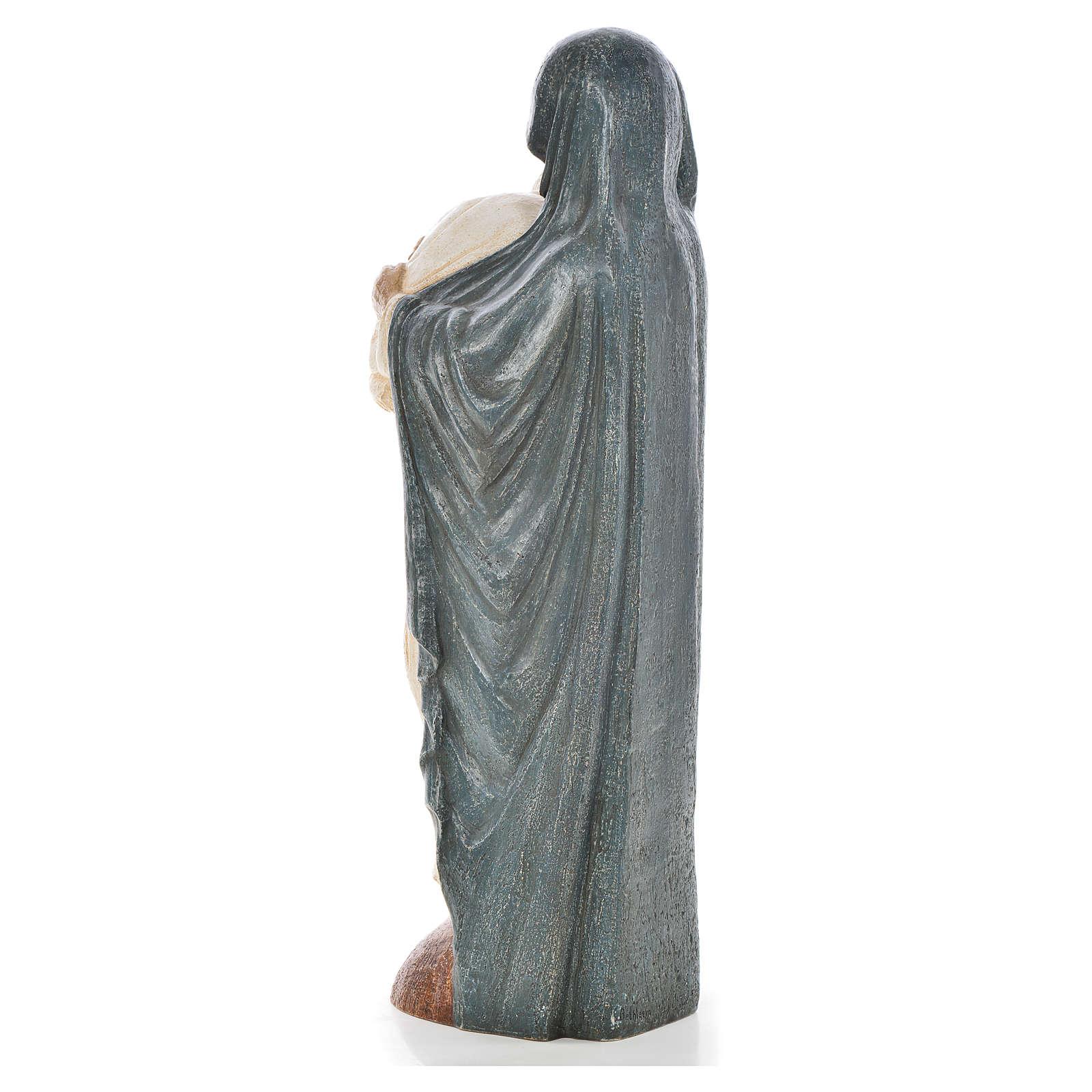 Maria veste blu e Giovanni Paolo II pietra Bethléem 56 cm 4