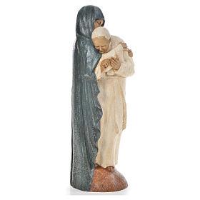Maria manto azul e João Paulo II pedra Belém 56 cm s4