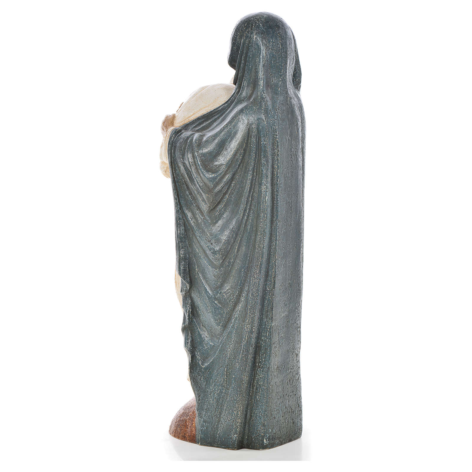 Mary, blue mantle and Pope John Paul II, Bethléem stone 56cm 4