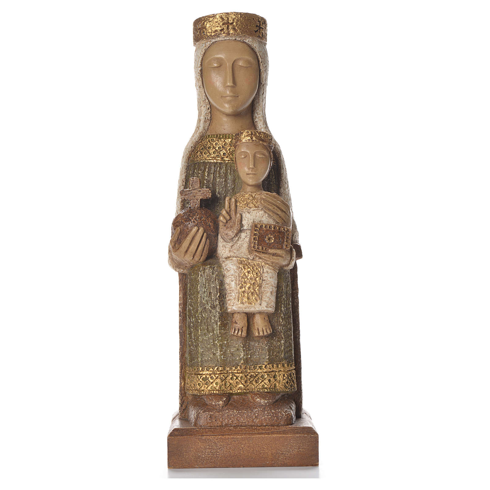 Our Lady of the Pillar 25 cm green coloured stone Bethléem 4