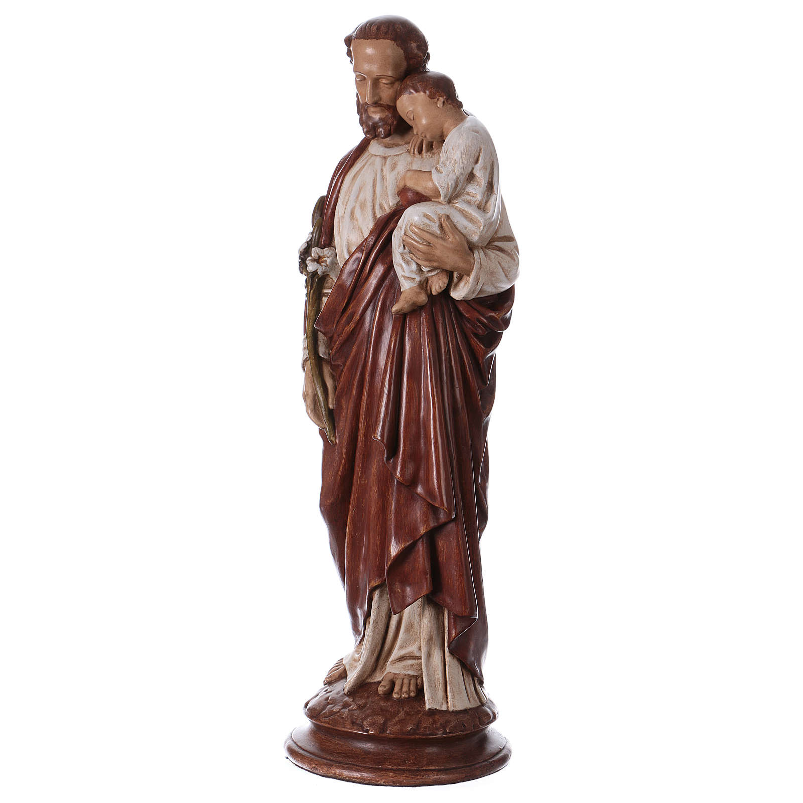 St Joseph with child 61 cm coloured Pyrenean stone 4