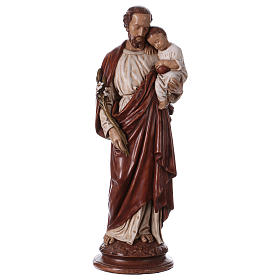 St Joseph with child 61 cm coloured Pyrenean stone s1