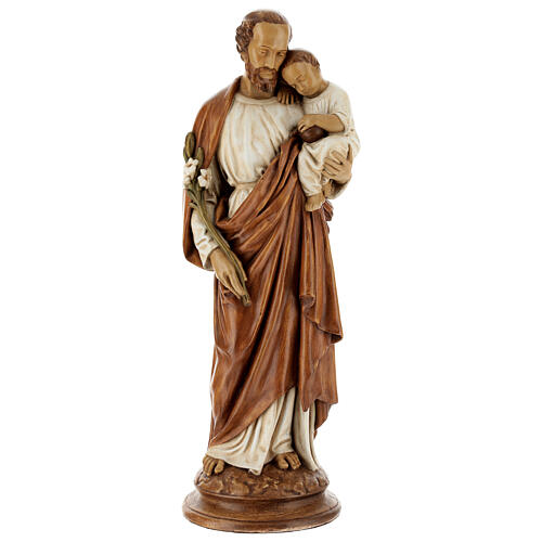 St Joseph with child 61 cm coloured Pyrenean stone 1