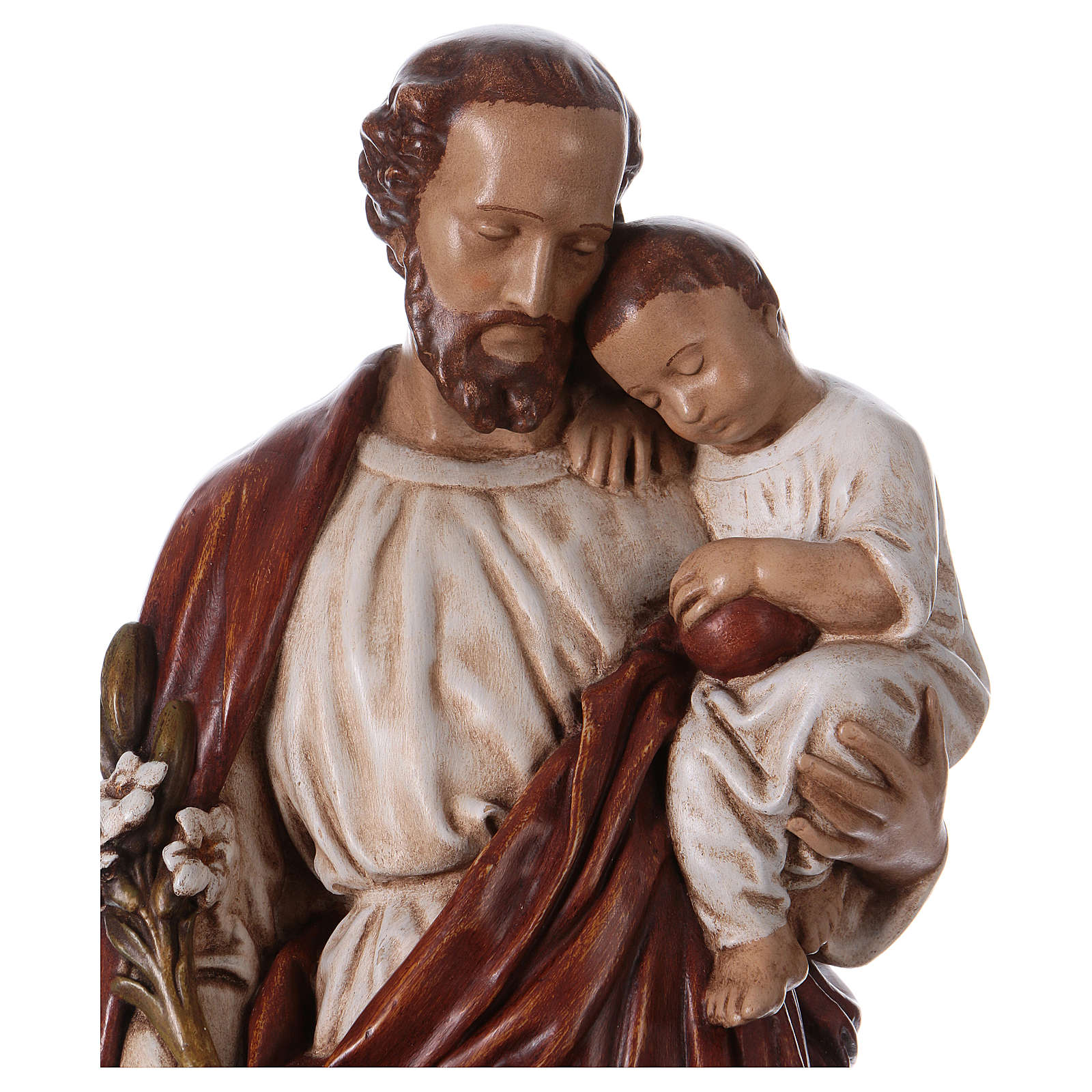 San Giuseppe con bambino 61 cm pietra dei Pirenei colorata 4