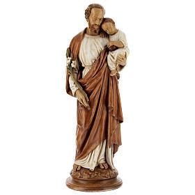 San Giuseppe con bambino 61 cm pietra dei Pirenei colorata