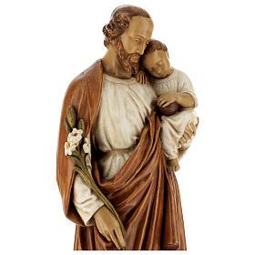 San Giuseppe con bambino 61 cm pietra dei Pirenei colorata s4