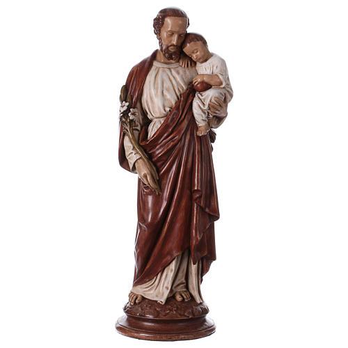 San Giuseppe con bambino 61 cm pietra dei Pirenei colorata 1