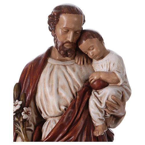 San Giuseppe con bambino 61 cm pietra dei Pirenei colorata 2