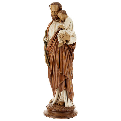 San Giuseppe con bambino 61 cm pietra dei Pirenei colorata 3