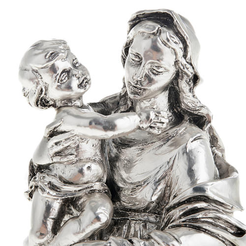 Madonna con bimbo resina color metallo 17 cm 2
