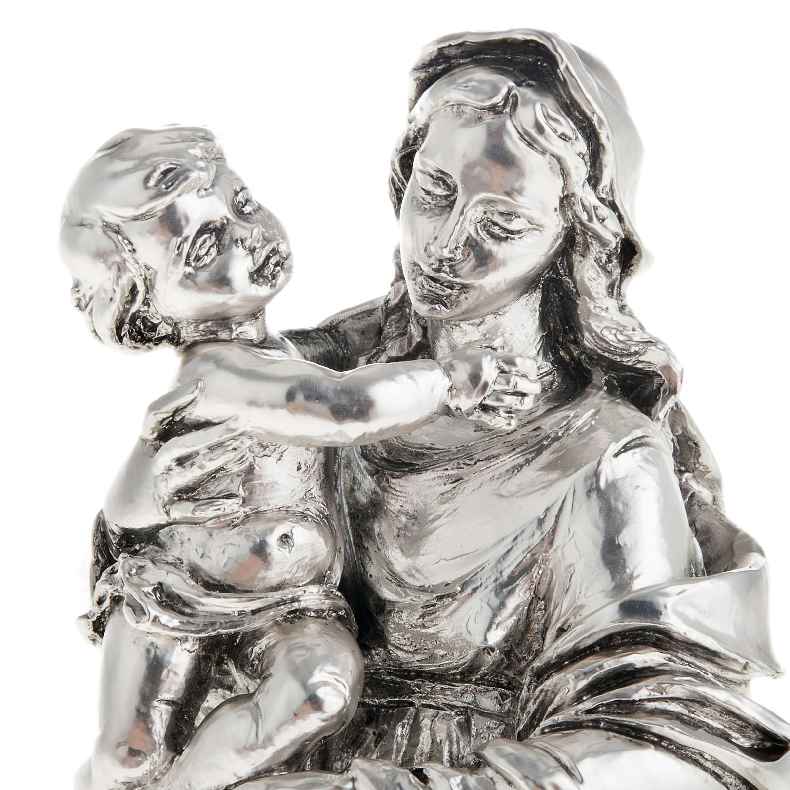 Virgin and baby in metal-coloured resin 17cm 4