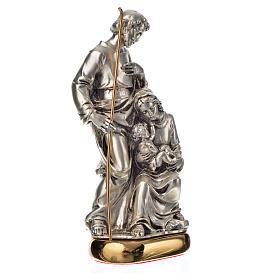 Sacra Famiglia con carillon 16 cm resina color metallo s2
