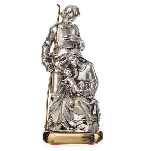 Holy Family with music box in metal-coloured resin 16cm 1