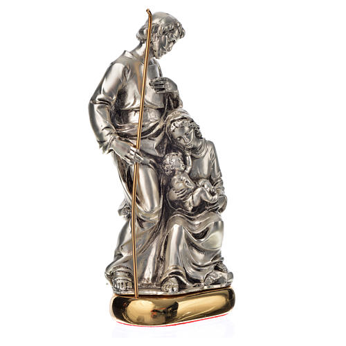 Holy Family with music box in metal-coloured resin 16cm 2