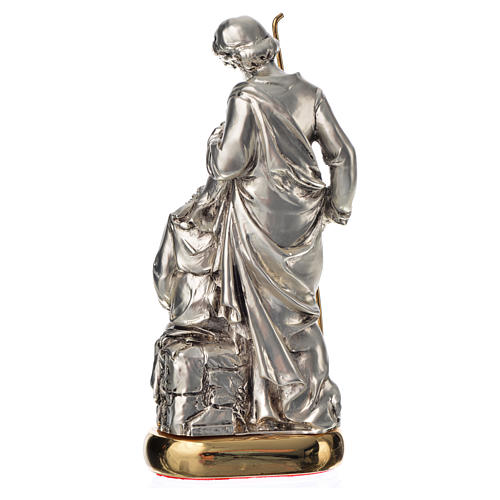 Holy Family with music box in metal-coloured resin 16cm 3