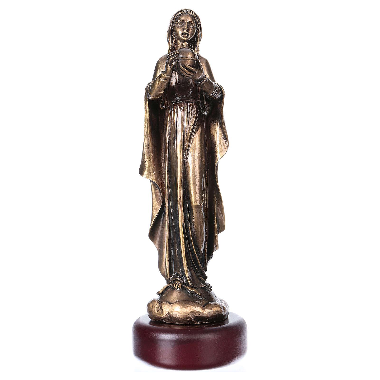 Madonna statua resina color metallo bronzato 16 cm 4