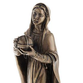 Madonna statua resina color metallo bronzato 16 cm s3