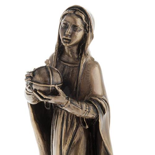 Madonna statua resina color metallo bronzato 16 cm 3