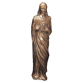 Statue of Sacred Heart of Jesus in bronze 85 cm for EXTERNAL USE s1