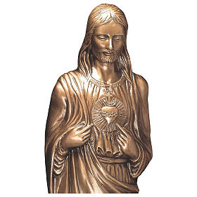 Statue of Sacred Heart of Jesus in bronze 85 cm for EXTERNAL USE s2