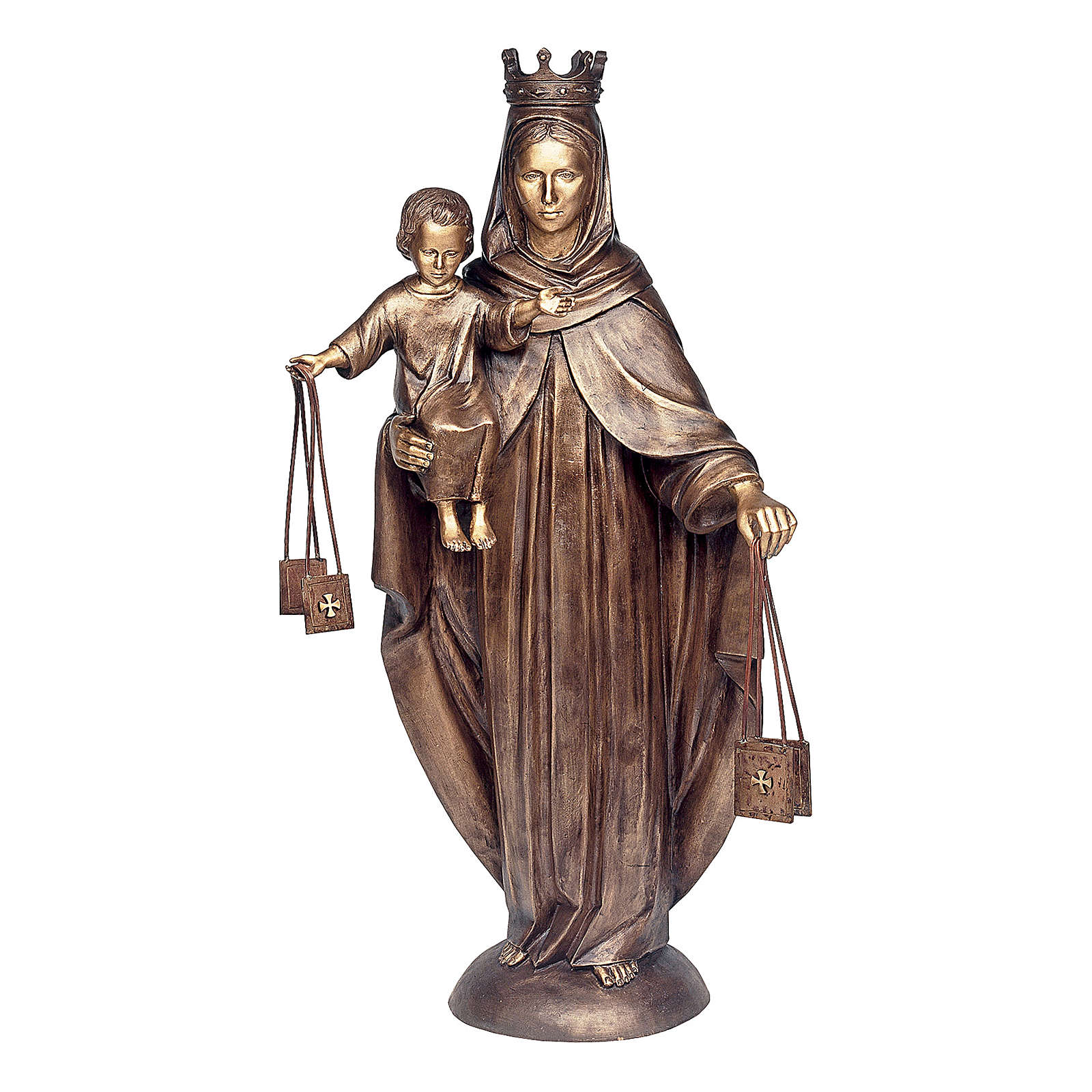 Statue of Our Lady of Carmel in bronze 110 cm for EXTERNAL USE 4