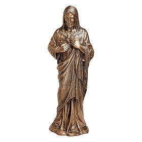 Statue of the Sacred Heart of Jesus in bronze 40 cm for EXTERNAL USE s1