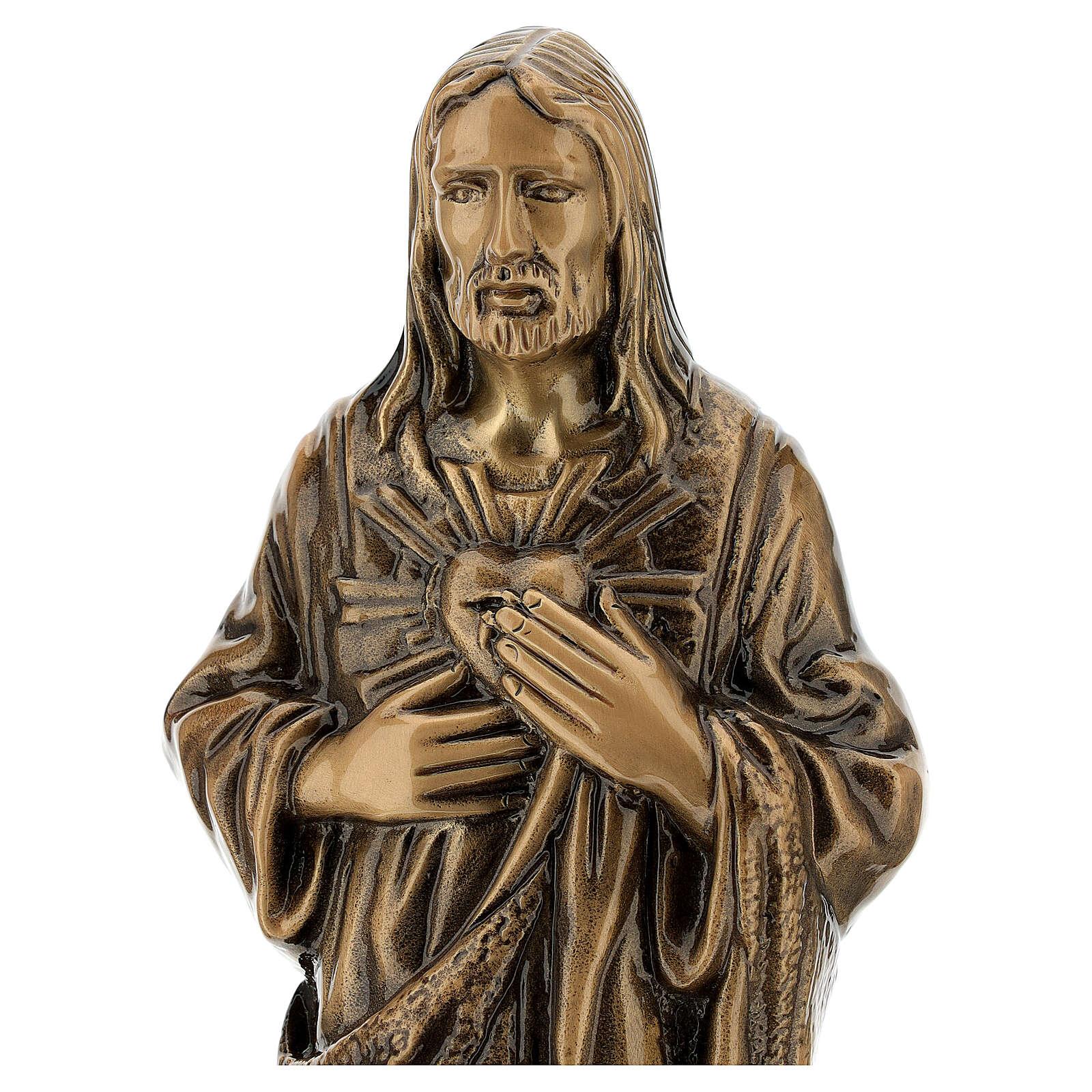 Estatua bronce Jesús Sagrado Corazón 40 cm para EXTERIOR 4