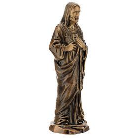 Estatua bronce Jesús Sagrado Corazón 40 cm para EXTERIOR s4